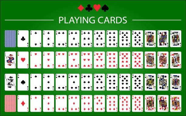 illustrazioni stock, clip art, cartoni animati e icone di tendenza di poker set with isolated cards on green background - pieno