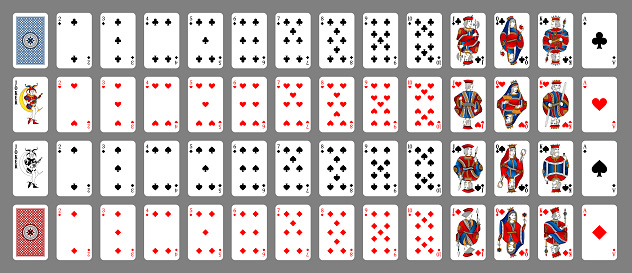 Poker set with isolated cards on grey background. Poker playing cards, full deck. New design of playing cards.