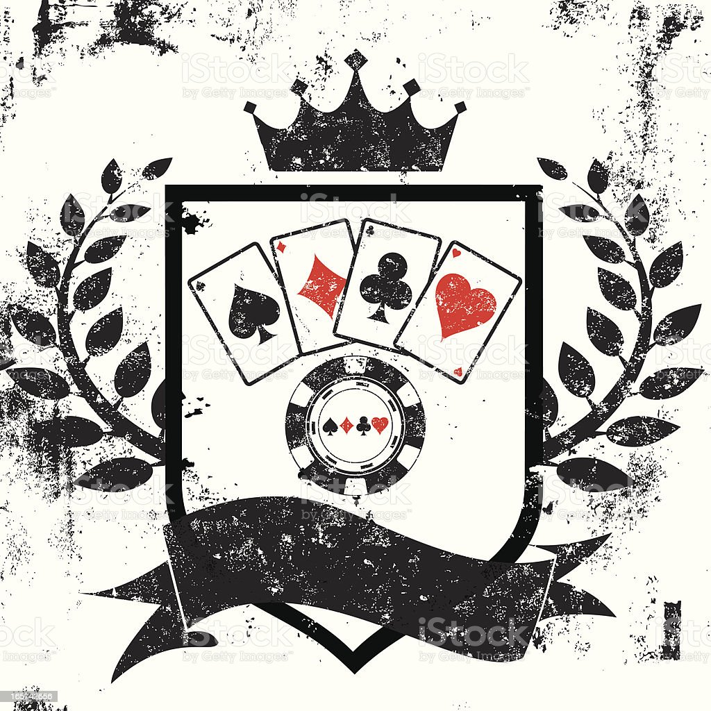 Poker shield insignia royalty-free stock vector art