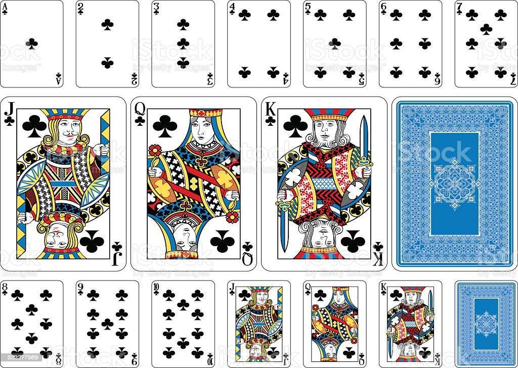 Poker size Club playing cards plus reverse vector art illustration