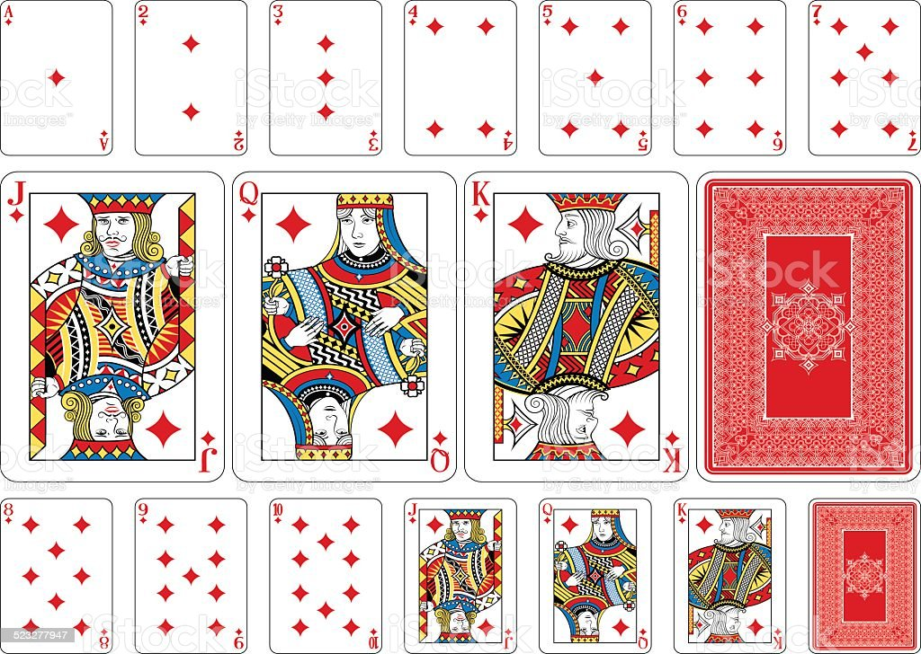 Poker size Diamond playing cards plus reverse vector art illustration
