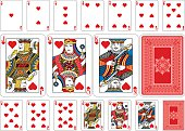 Poker size Heart playing cards plus reverse