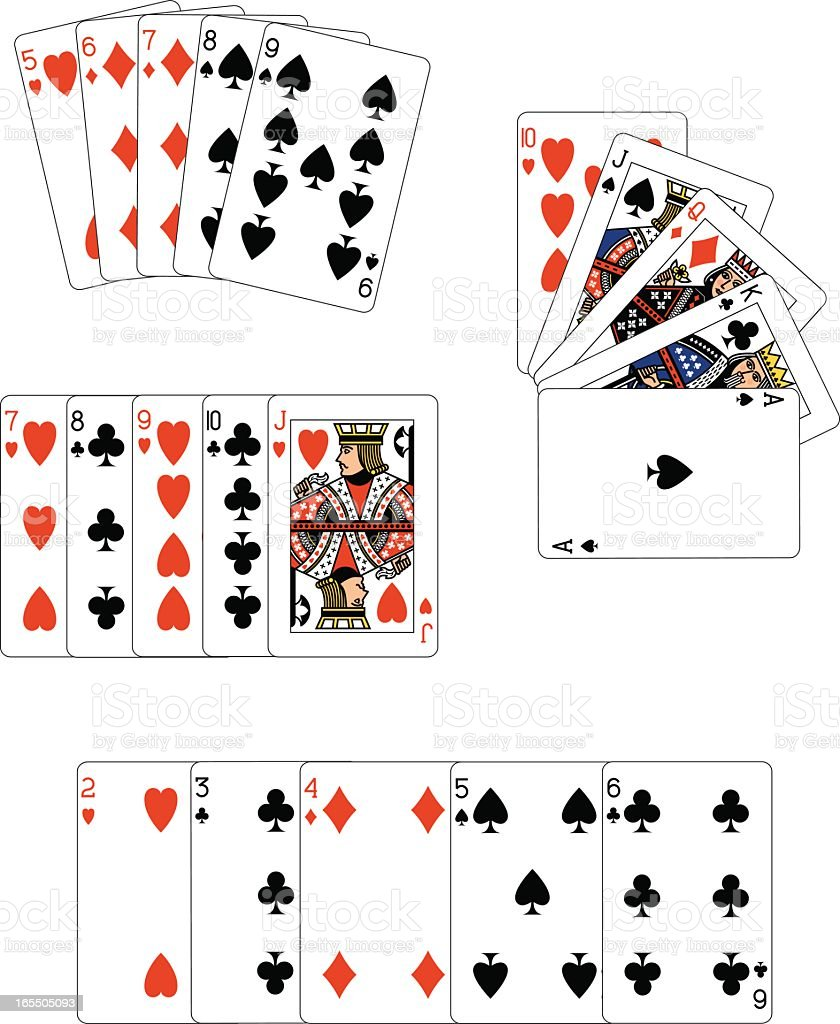 Poker Straights Playing Cards royalty-free stock vector art