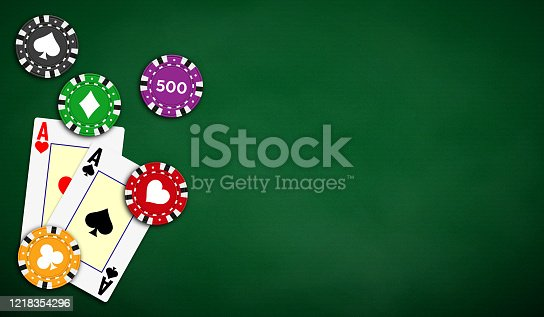 Poker table background in green color with aces and poker chips. Vector illustration.