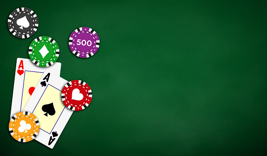 Poker table background in green color with aces and poker chips.