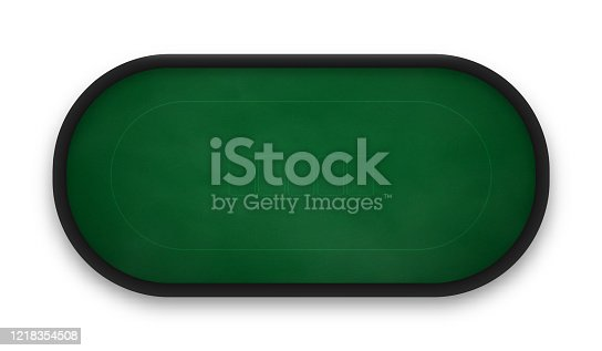 istock Poker table made of green cloth isolated on white background. 1218354508