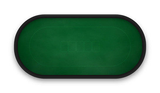 Poker table made of green cloth isolated on white background.