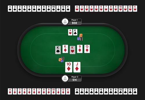 Poker table. Online poker room. Full deck of playing cards. Texas Hold'em game illustration. Online game concept.