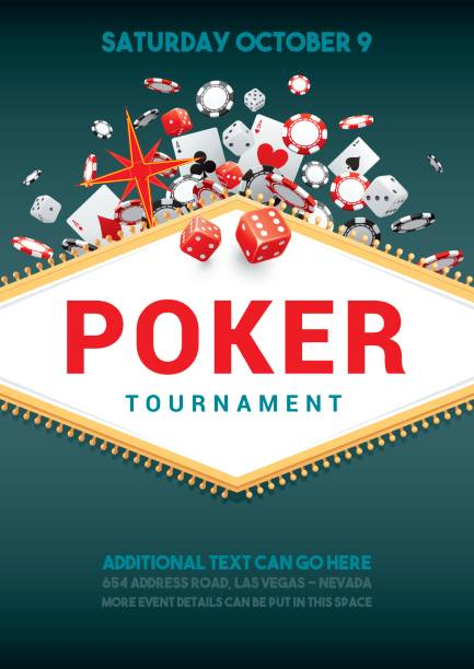 Poker tournament poster Poster for a poker tournament with gambling theme casino stock illustrations