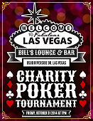 """Image of a poster advertising a Las Vegas charity poker tournament. The text reads """"Welcome to fabulous Las Vegas, Bill's Lounge and Bar 8500 Riverside Dr. Las Vegas, Charity Poker Tournament, Friday, October 31, 2014 at 7PM"""".  The words are centered in rows on the image, written in black or white capital letters, with the exception of the word """"fabulous"""" written in cursive.  The background of the poster consists of dots in shades of red that are out of focus.  There is a gold line border around the edges of the image.  There are two of each of the following symbols: spades, clubs, diamonds and hearts."""