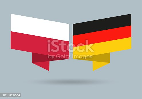 istock Poland and Germany flags. Polish and German national symbols. Vector illustration. 1313126554