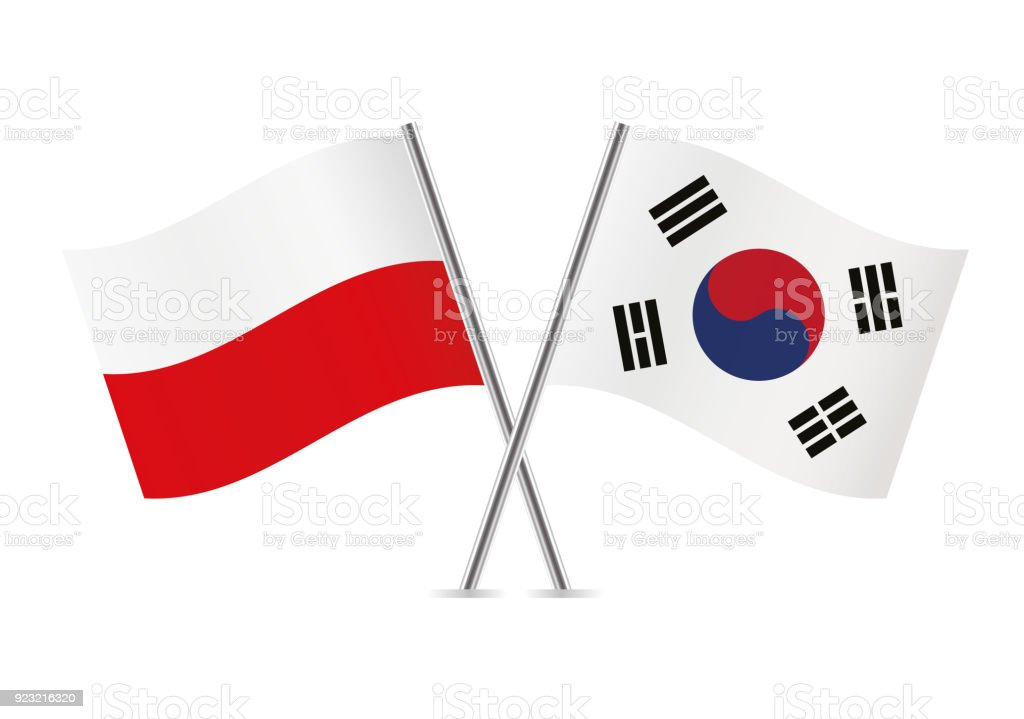 Sinalizadores de Polônia e Coreia do Sul. Ilustração em vetor. - ilustração de arte em vetor