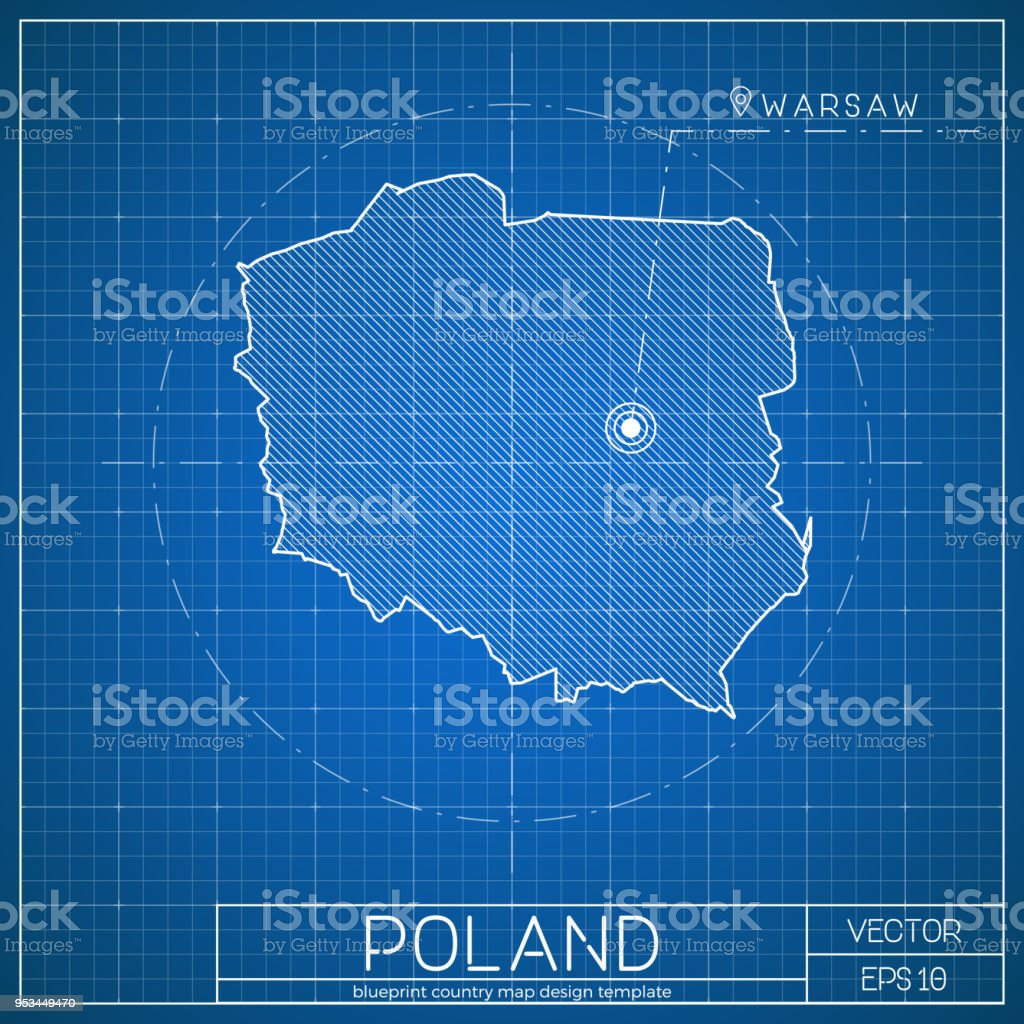 Capital Of Poland Map.Poland Blueprint Map Template With Capital City Stock Vector Art