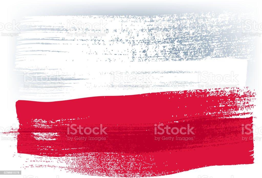 Polen bunte mit Pinselstrichen Gemalte Flagge – Vektorgrafik