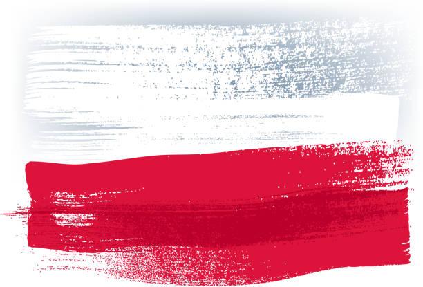 polen bunte mit pinselstrichen gemalte flagge - flagge polen stock-grafiken, -clipart, -cartoons und -symbole