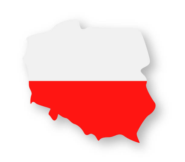 poland - contour country flag vector flat icon - polish flag stock illustrations, clip art, cartoons, & icons