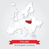 Poland. Europe administrative map.