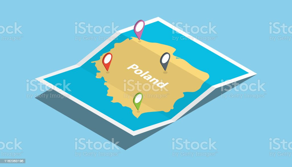 poland explore maps country nation with isometric style and pin...