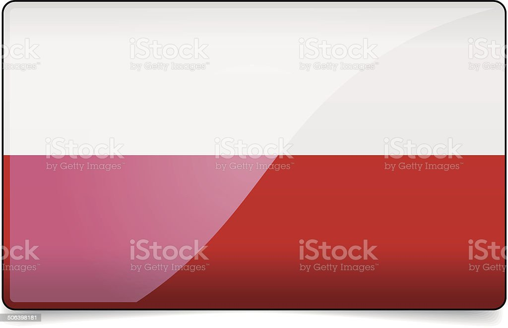 Poland flag button with reflection and shadow. Isolated glossy f vector art illustration