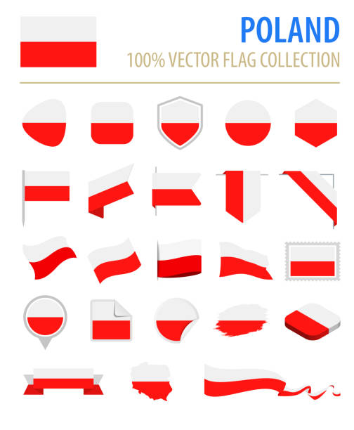 poland - flag icon flat vector set - polish flag stock illustrations, clip art, cartoons, & icons