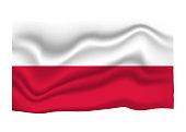 Poland Flag Icon. National Flag Banner. Cartoon Vector illustration.