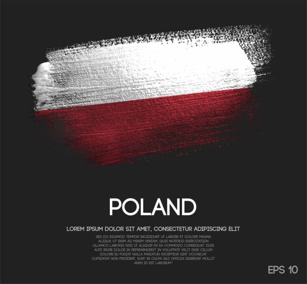 poland flag made of glitter sparkle brush paint vector - polish flag stock illustrations, clip art, cartoons, & icons