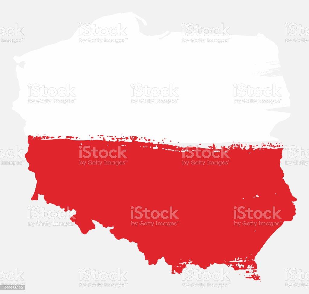 Polen-Flagge & Karte Vektor handbemalt mit abgerundeten Pinsel – Vektorgrafik