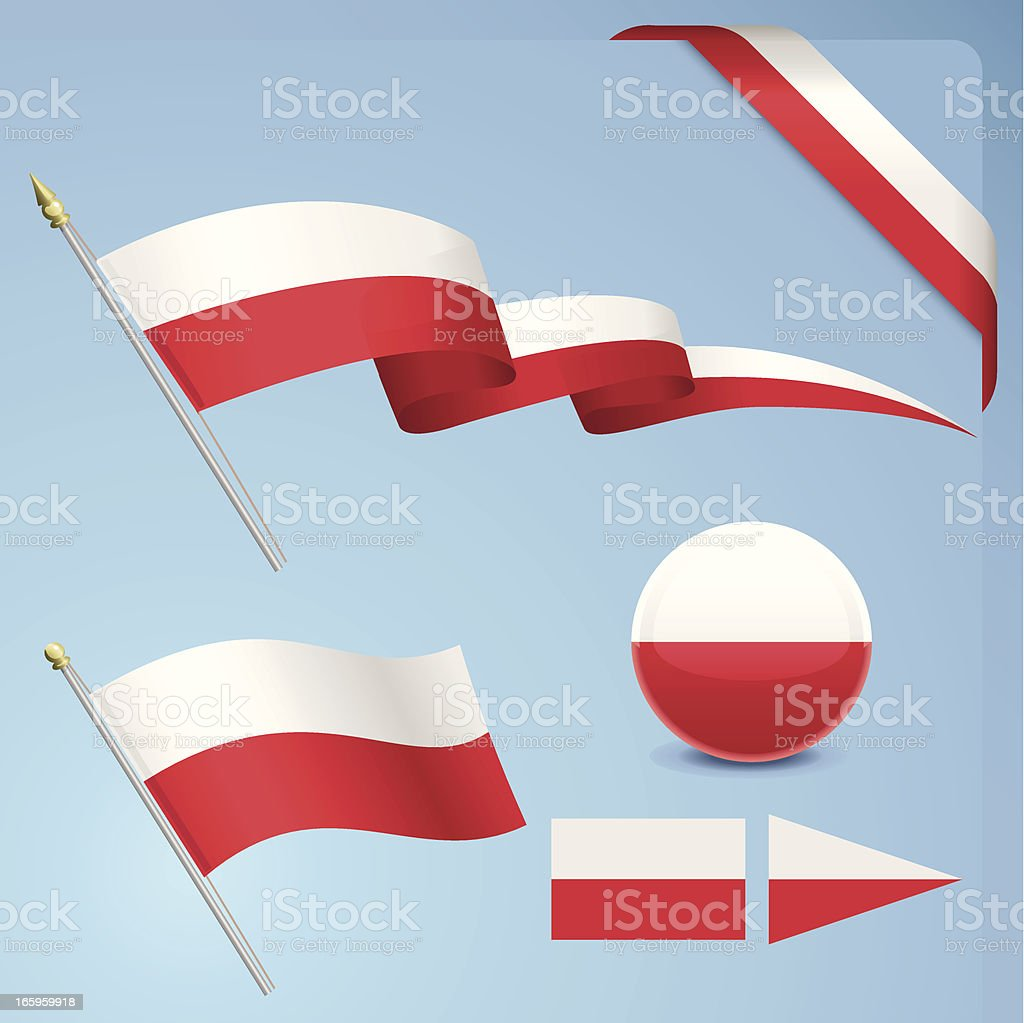 Poland Flag Set vector art illustration