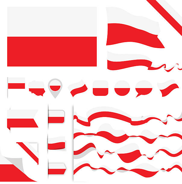 poland flag set - polish flag stock illustrations, clip art, cartoons, & icons