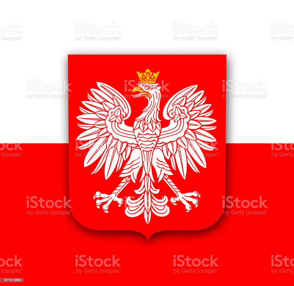 Polen-Flagge mit Adler – Vektorgrafik