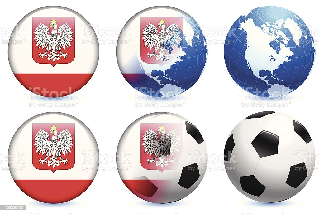 Poland Flag with Soccer ball and Globe royalty-free poland flag with soccer ball and globe stock vector art & more images of blue