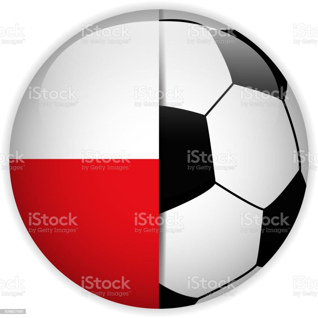 Bandera de Polonia con pelota de fútbol de fondo - ilustración de arte vectorial