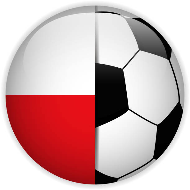 poland flag with soccer ball background - polish flag stock illustrations, clip art, cartoons, & icons