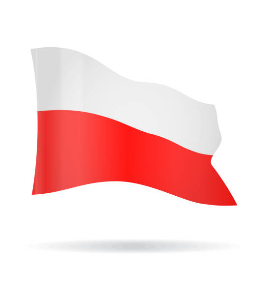 poland - flying banner flag vector glossy icon - polish flag stock illustrations, clip art, cartoons, & icons