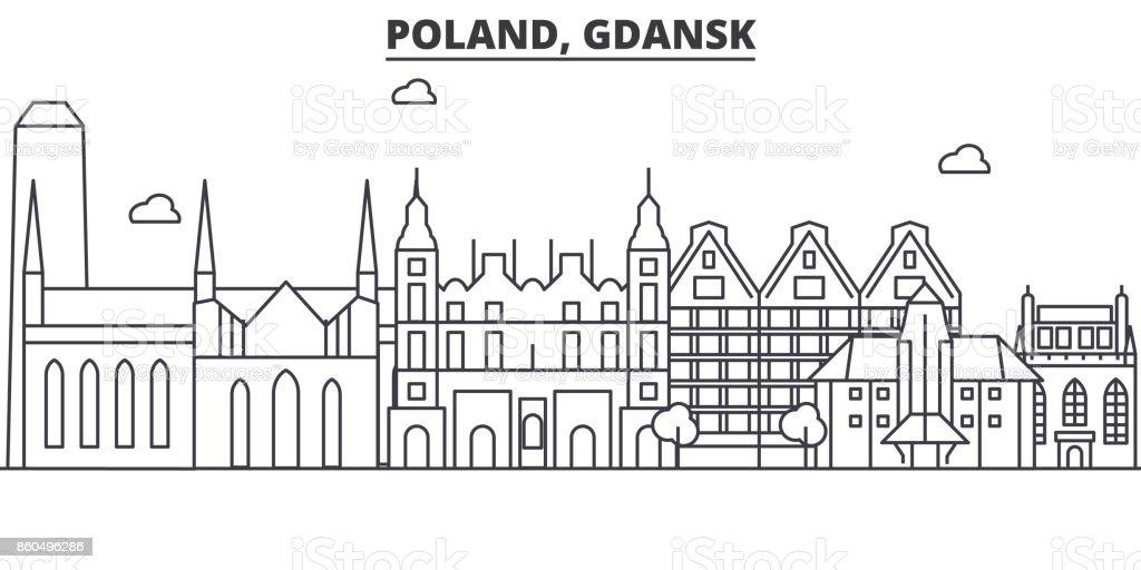 Poland, Gdansk architecture line skyline illustration. Linear vector cityscape with famous landmarks, city sights, design icons. Landscape wtih editable strokes vector art illustration