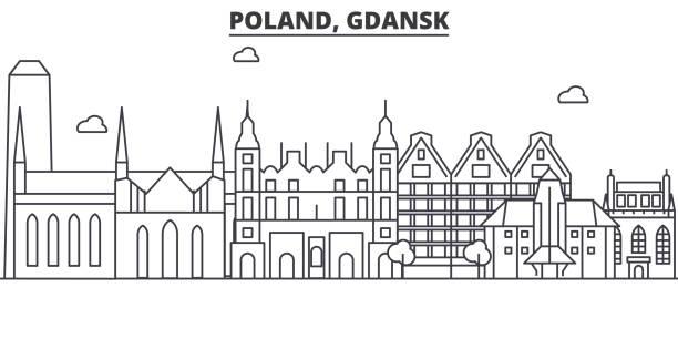 polen, gdansk architektur linie skyline abbildung. linearer vektor stadtbild mit berühmten sehenswürdigkeiten, sehenswürdigkeiten der stadt, design-ikonen. landschaft mit editierbaren striche - ostsee stock-grafiken, -clipart, -cartoons und -symbole