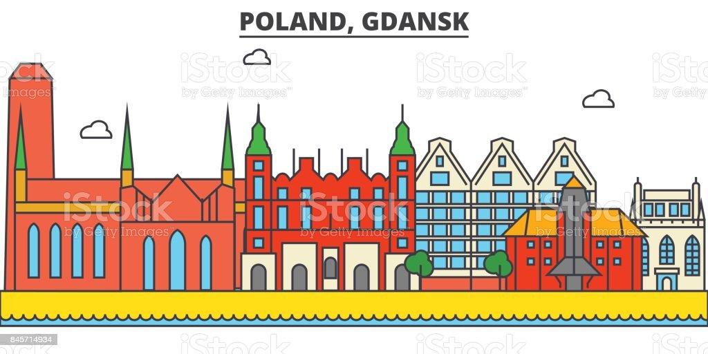 Poland, Gdansk. City skyline: architecture, buildings, streets, silhouette, landscape, panorama, landmarks. Editable strokes. Flat design line vector illustration concept. Isolated icons set vector art illustration