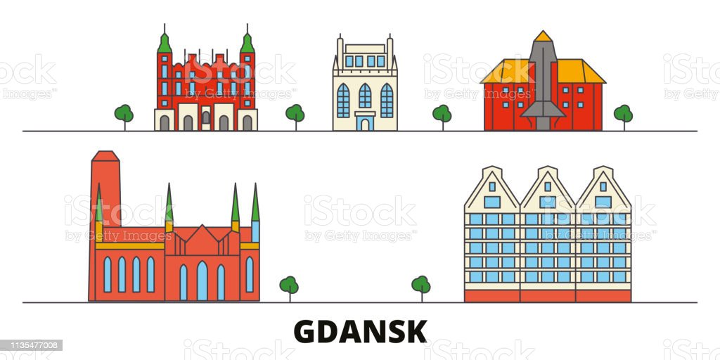 Poland, Gdansk flat landmarks vector illustration. Poland, Gdansk line city with famous travel sights, skyline, design.