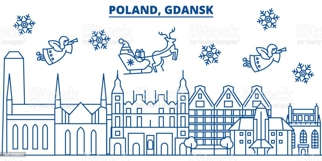 Poland, Gdansk winter city skyline. Merry Christmas, Happy New Year decorated banner with Santa Claus.Winter greeting line card.Flat, outline vector.Linear christmas snow illustration vector art illustration