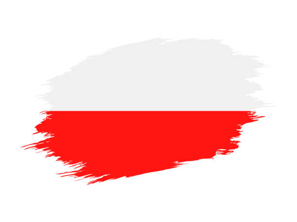 poland - grunge flag vector flat icon - polish flag stock illustrations, clip art, cartoons, & icons