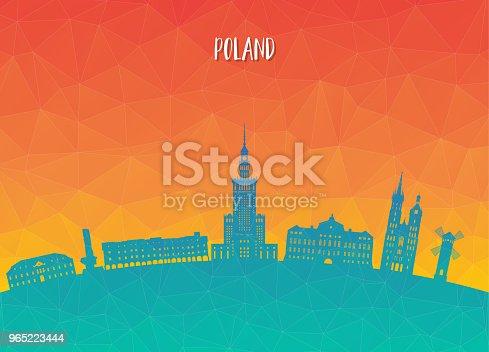 Poland Landmark Global Travel And Journey Paper Background Vector Design Templateused For Your Advertisement Book Banner Template Travel Business Or Presentation - Stockowe grafiki wektorowe i więcej obrazów Architektura 965223444