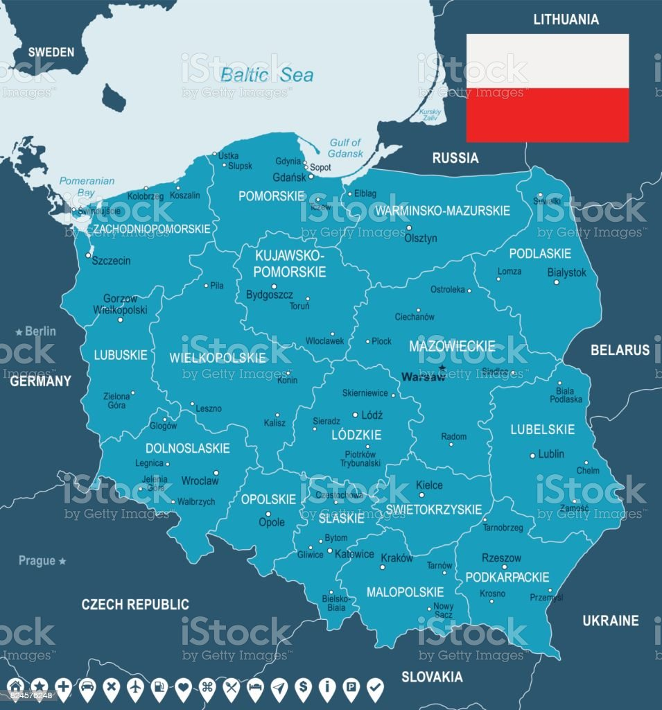 Poland Map And Flag Illustration Stock Vector Art & More Images of ...