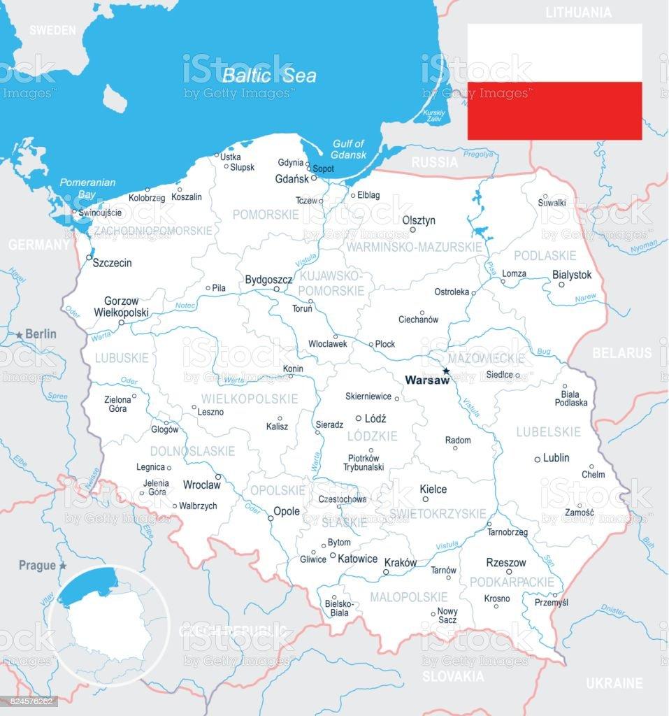 Polen Karte.Polen Karte Und Flagge Abbildung Stock Vektor Art Und Mehr Bilder