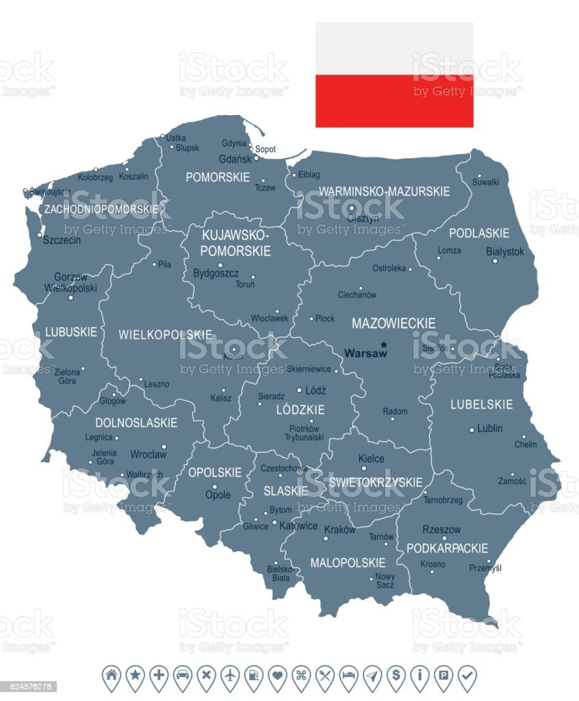 Lomza Poland Map.Poland Map And Flag Illustration Stock Vector Art More Images Of