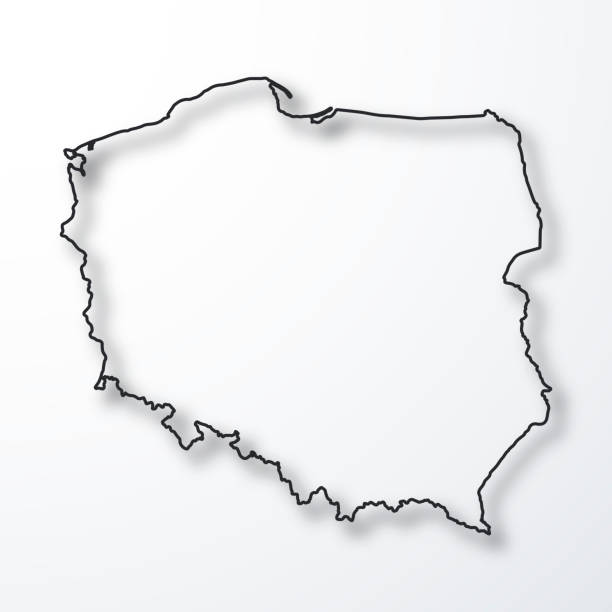 poland map - black outline with shadow on white background - polska stock illustrations