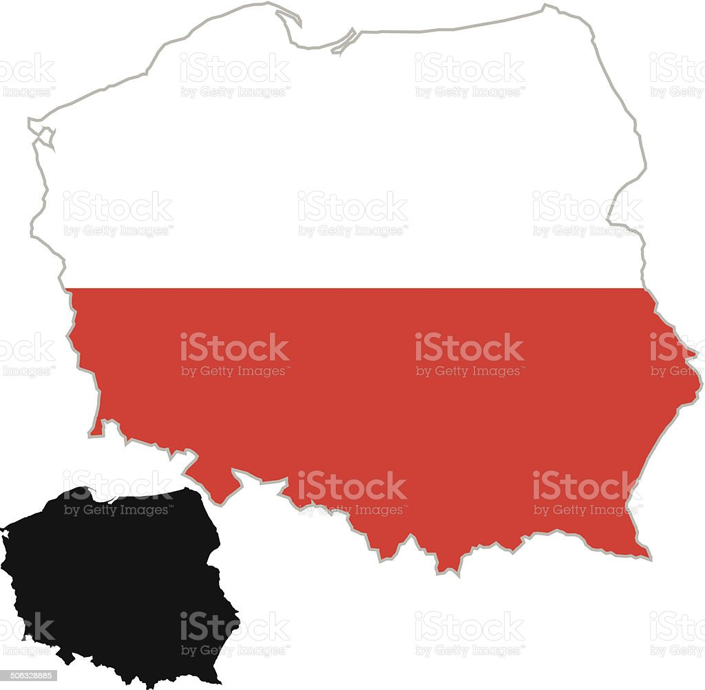 Poland Map Flag Stock Vector Art & More Images of Black Color ...