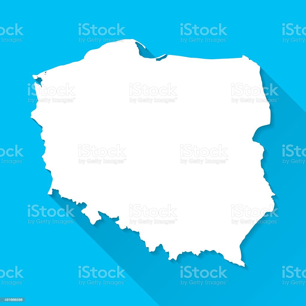 Poland Map on Blue Background, Long Shadow, Flat Design vector art illustration