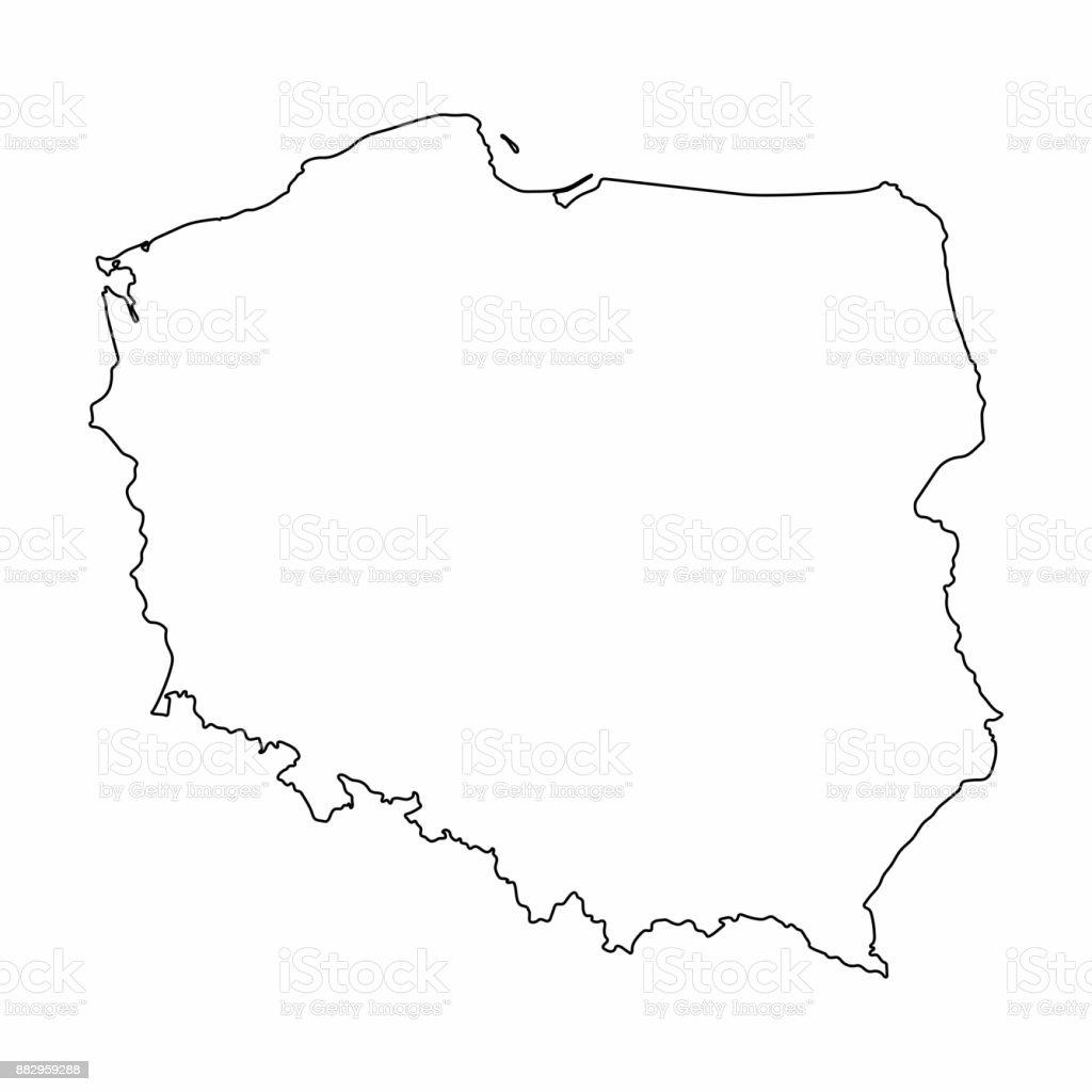 Polen Karte Umriss.Polen Karte Umriss Grafik Freihandzeichnen Auf Weissem