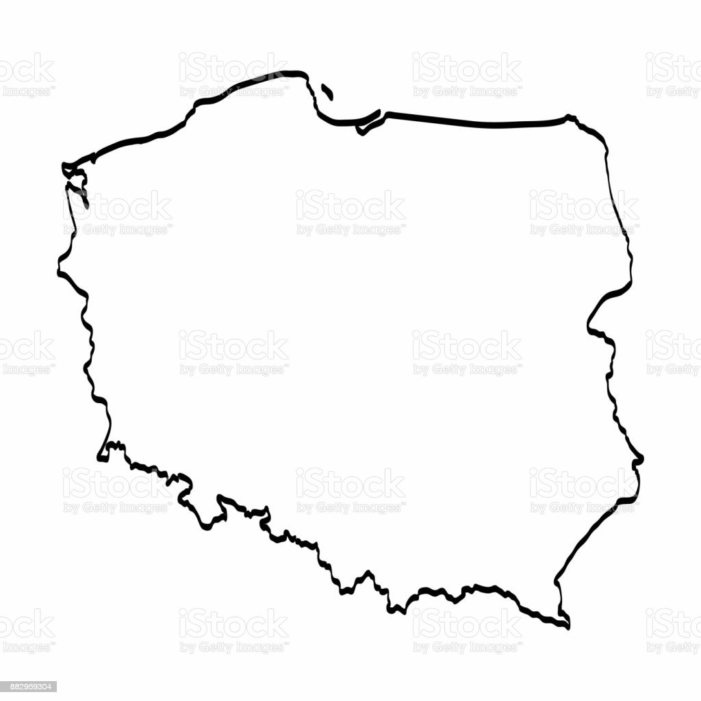 Poland Map Outline Graphic Freehand Drawing On White Background