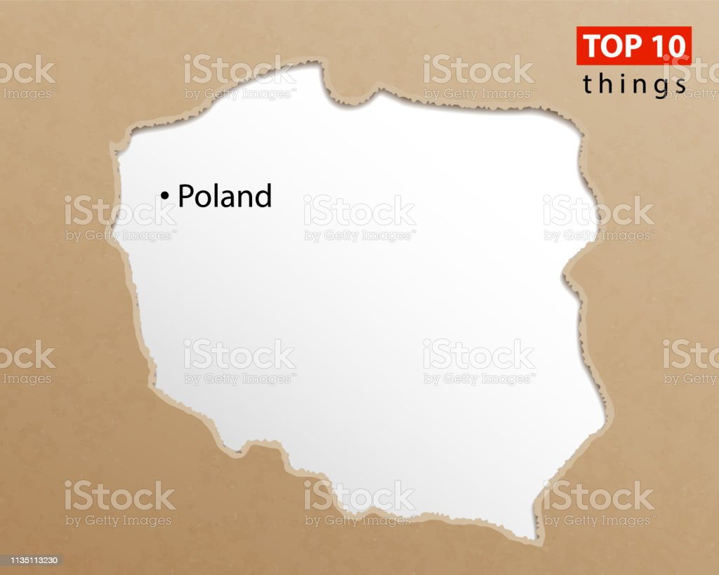 Poland Map Vector Polish Maps Craft Paper Texture Empty